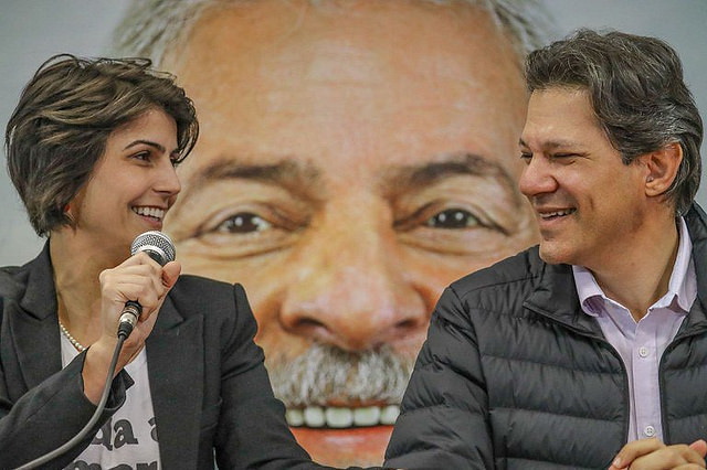 VP candidate Manuela D'Avila and running mate and presidential candidate Fernando Haddad - Créditos: Ricardo Stuckert