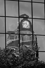 Clock - reflected - B&W