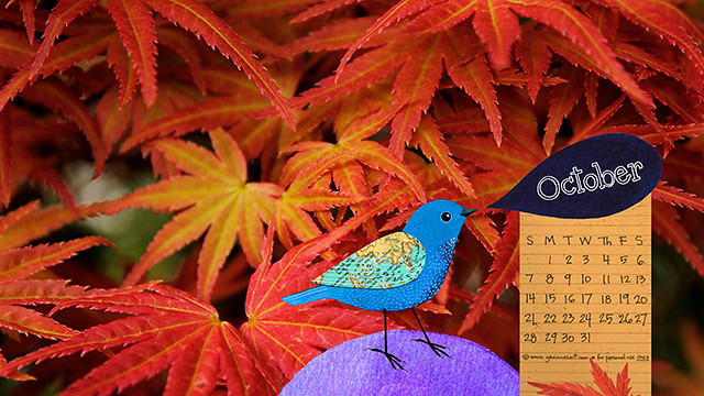 October desktop calendar 2018