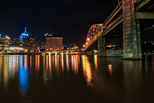alleghenyriver hdr nikon nikond5300 pennsylvania pittsburgh bridge city downtown geotagged light lights longexposure night reflection reflections river sky star stars water unitedstates
