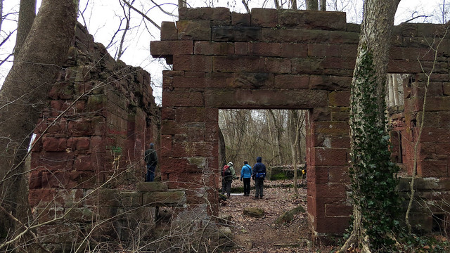 C&O Canal Association hikers inspecting the interior of the Seneca Stone Cutting Mill ruins 1-25-2015