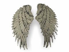 2 ANGEL WINGS, silbern, XL Pailletten Applikationen