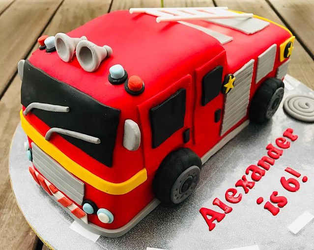 Fire Truck Cake by Cakes&Bakes