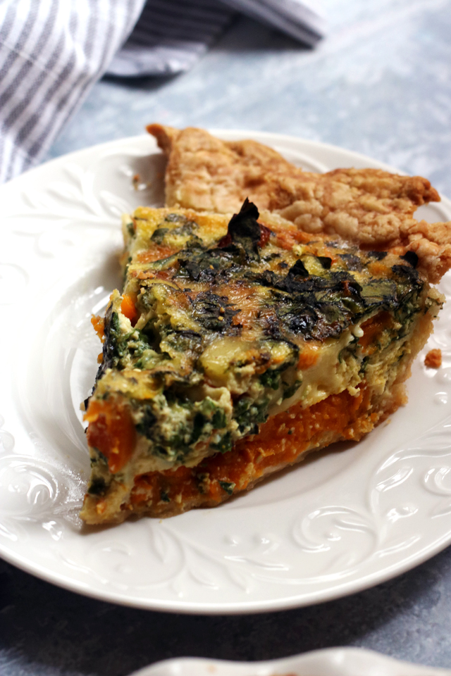 Butternut Squash, Brie, and Chard Quiche