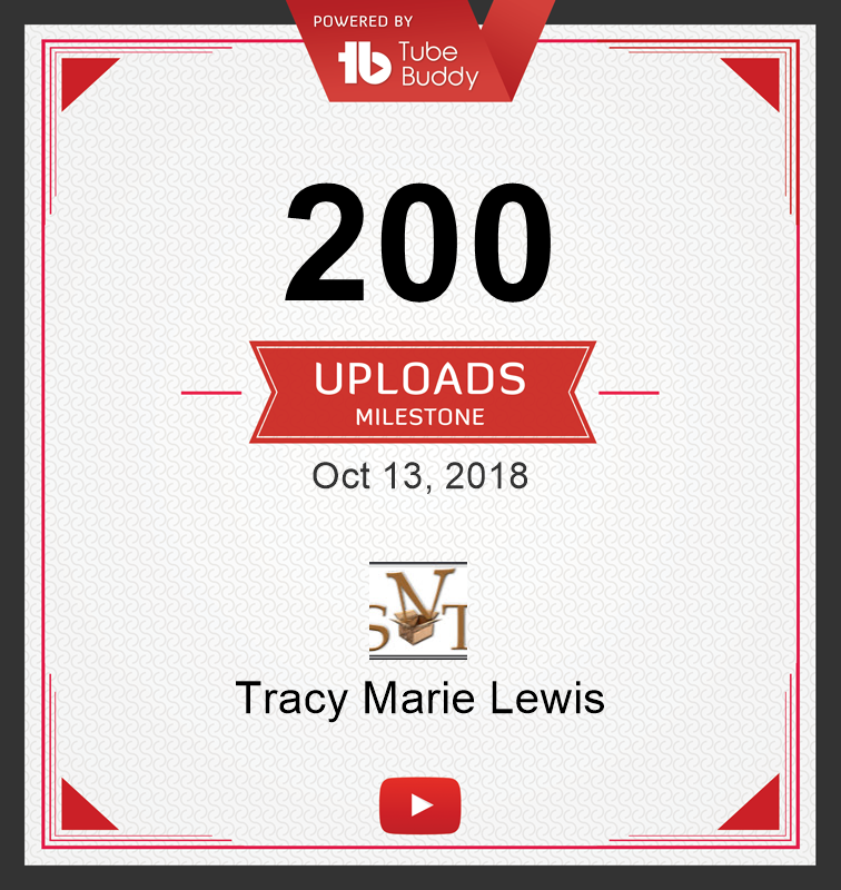200 YT uploads certificate | Tracy Marie Lewis | www.stuffnthingz.com