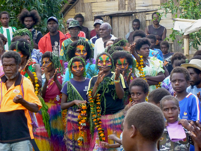 Spectators and Participants waiting for there turn to dance at a John Frum celebration on Tanna