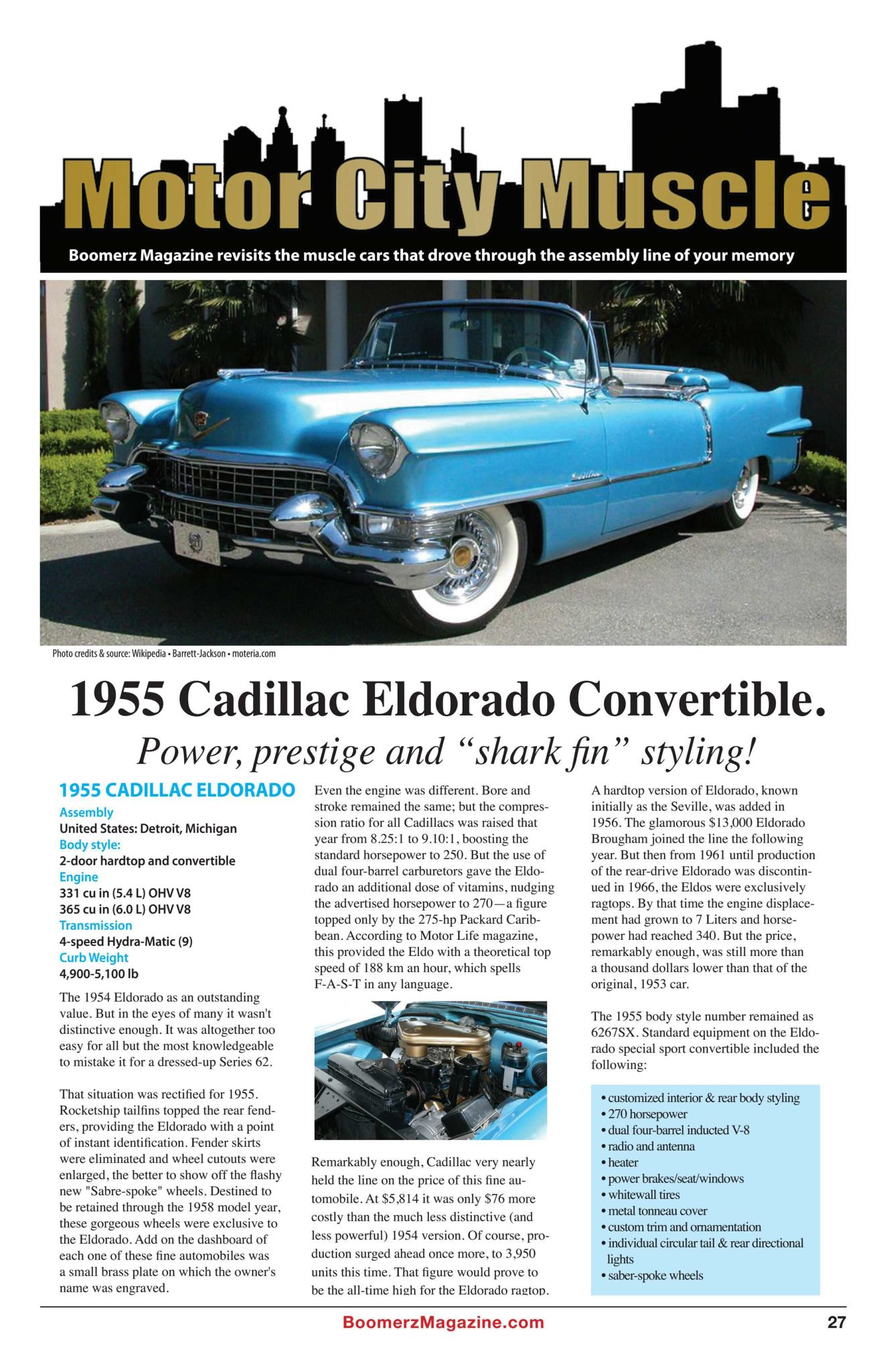 Boomerz Magazine 2018 November Motor City Muscle 1955 Cadillac Eldorado Convertible