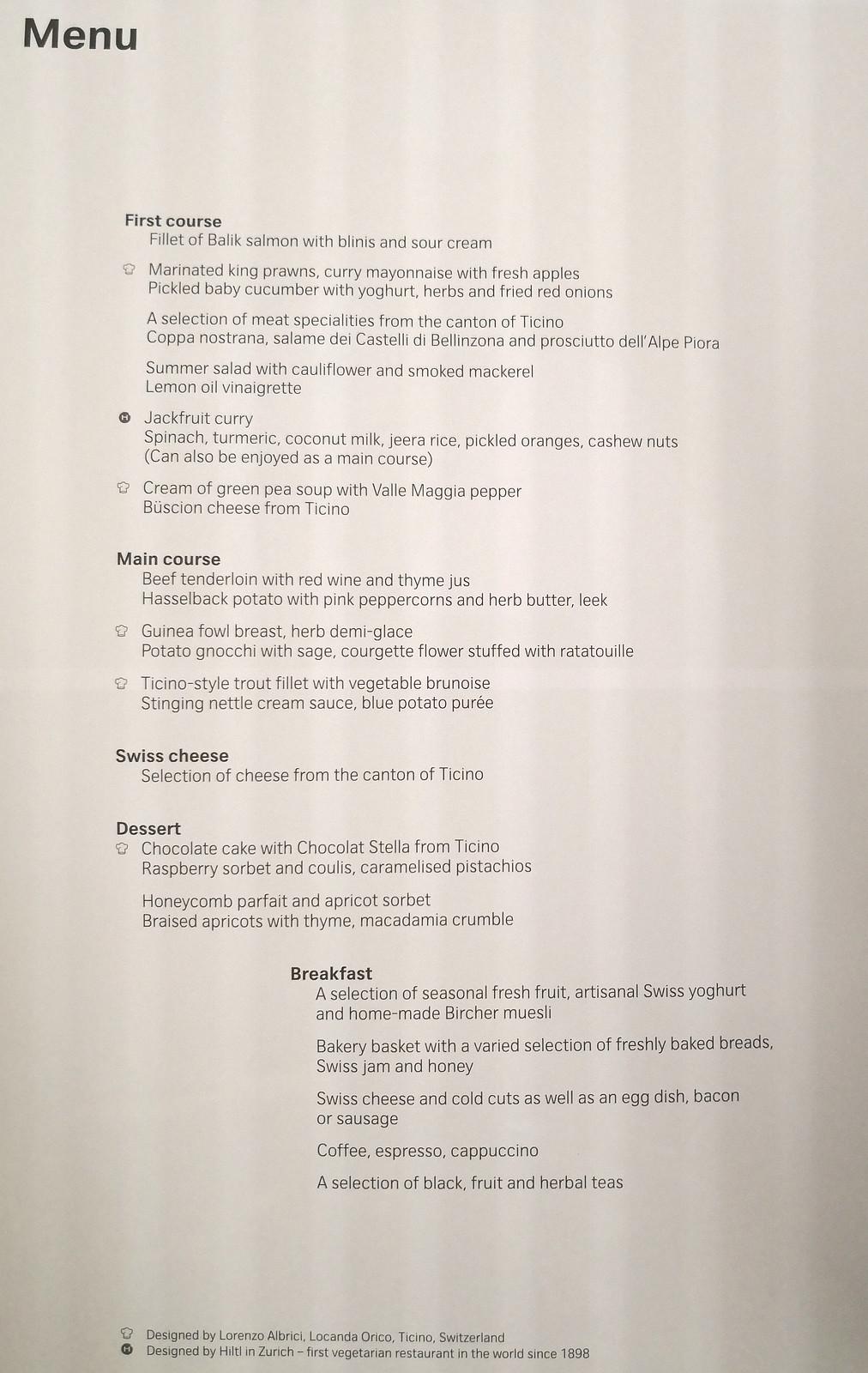 Inflight menu