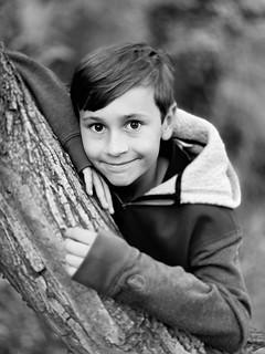Monochrome portrait of a young boy