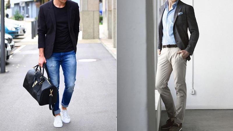 Jaket Blazer Pria dengan jeans dan t-shirt (kiri), blazer dengan kemeja dan chino (kanan).