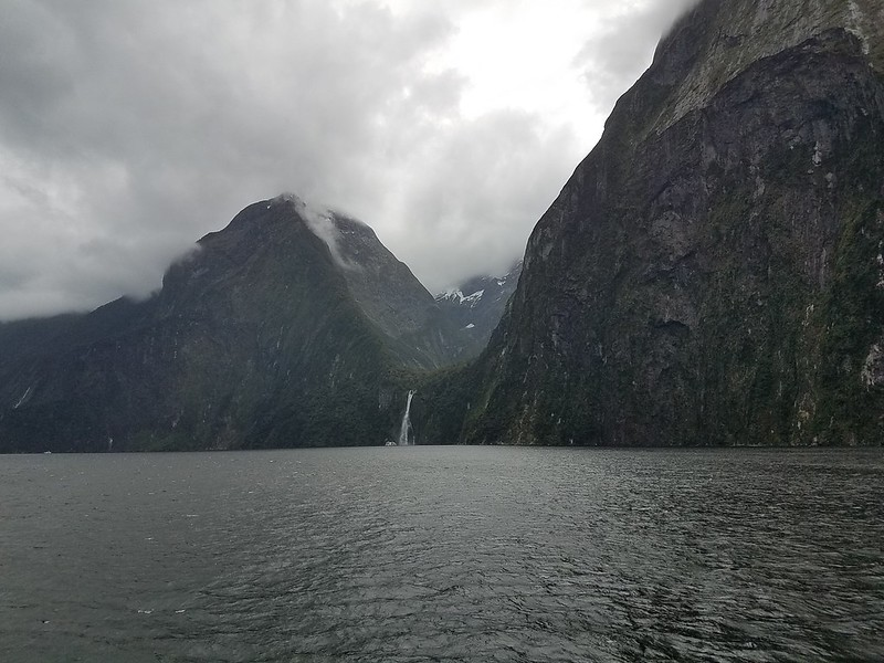 Distant waterfall - Milford Sound