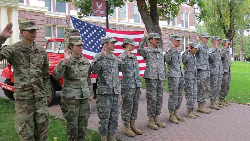 Ten EWU Cadets contract into the ROTC program on September 20, 2018 in front of historic Showalter Hall.