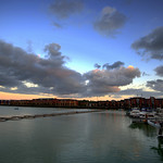 Serene clouds over the boats at Preston Docks