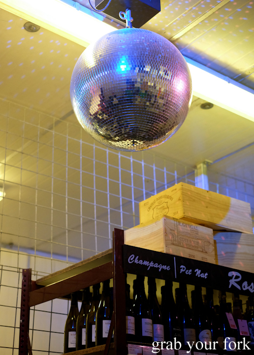 Disco ball in the walk-in cool room for beer and wine at Kingdom of Rice in Mascot Sydney