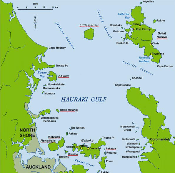Map of Hauraki Gulf, New Zealand, showing Auckland and Great Barrier Island.