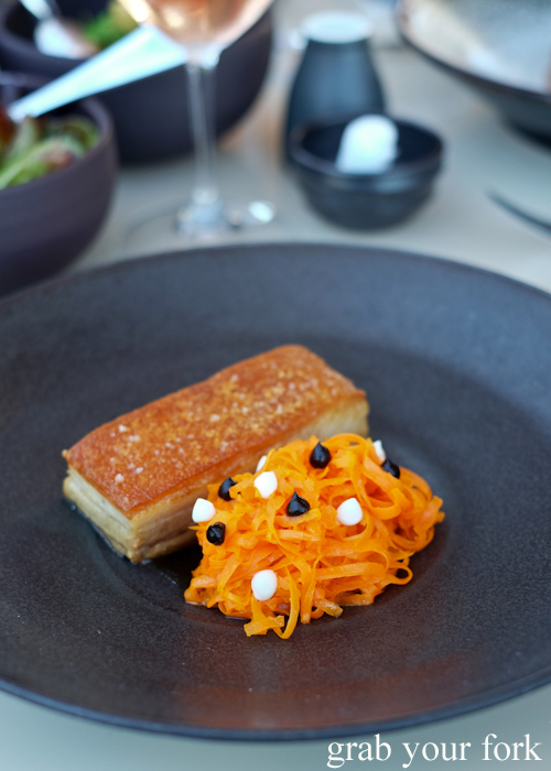 Crisp pig belly with confit organic carrots at Bennelong Restaurant in the Sydney Opera House