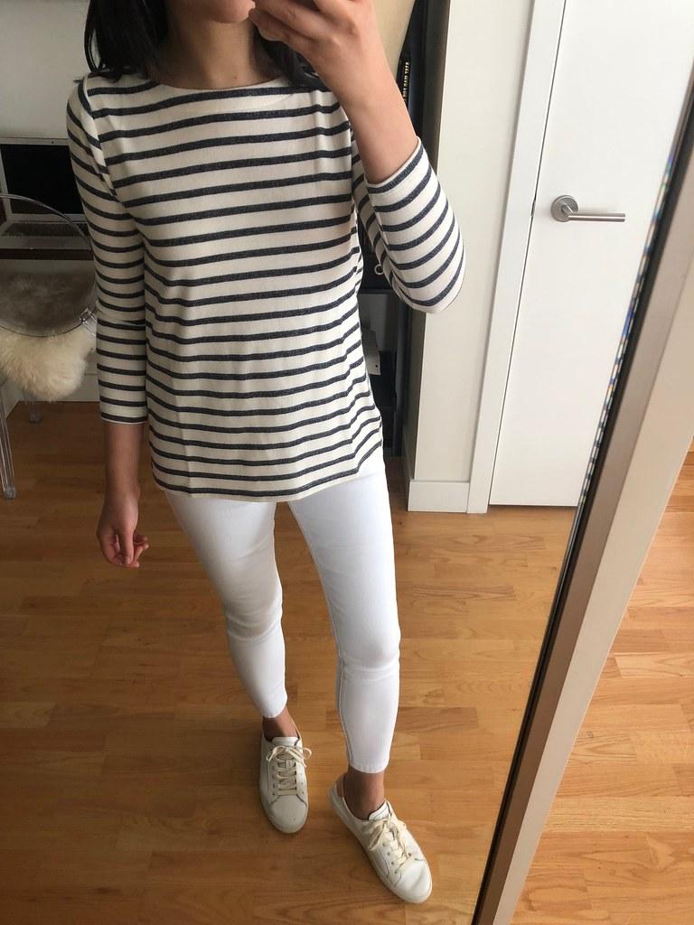 LOFT Striped Tulip Back Sweatshirt, size XXSP