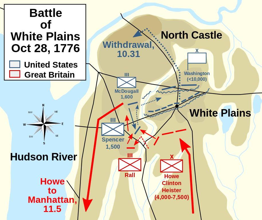 Map of the Battle of White Plains, New York, October 28, 1776