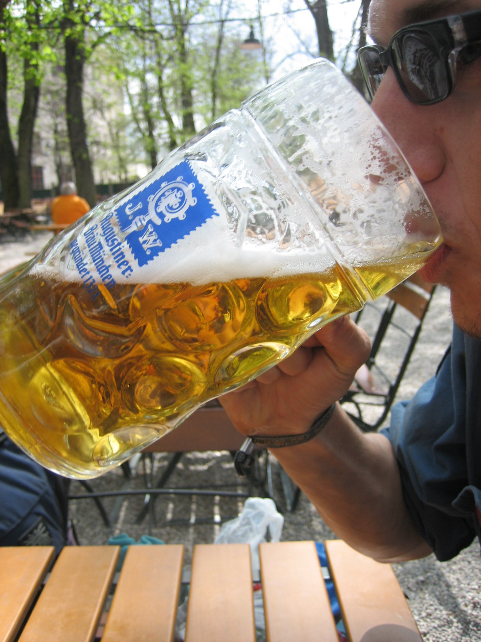 A Maßkrug is the style of glassware featured at German beer festivals, especially in Bavaria, such as Munich's Oktoberfest. Photo taken by Martin Ortmann on April 23, 2006.