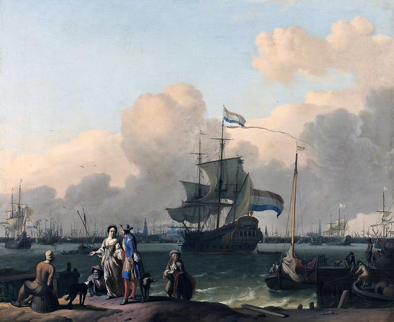 Ludolf Backhuysen - Het IJ voor Amsterdam met het fregat 'De Ploeg' (1708)