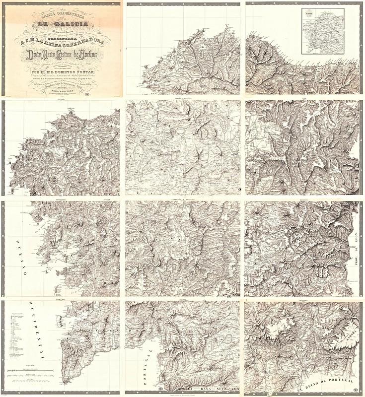 Domingo Fontán - Carta geométrica de Galicia (1845)