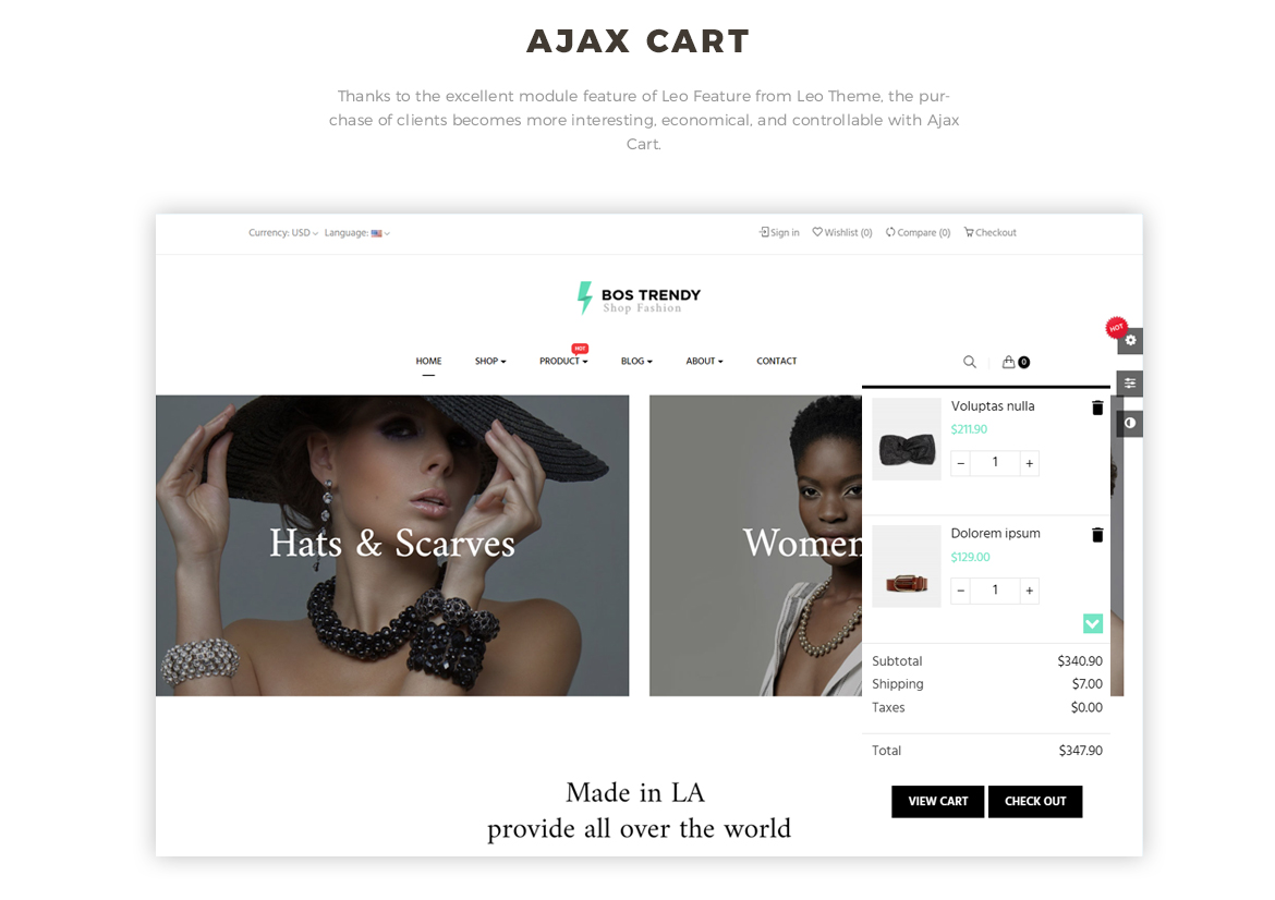 ajax add to cart - Bos Trendy Prestashop 1.7 theme - Fashion and Accessories - free install support