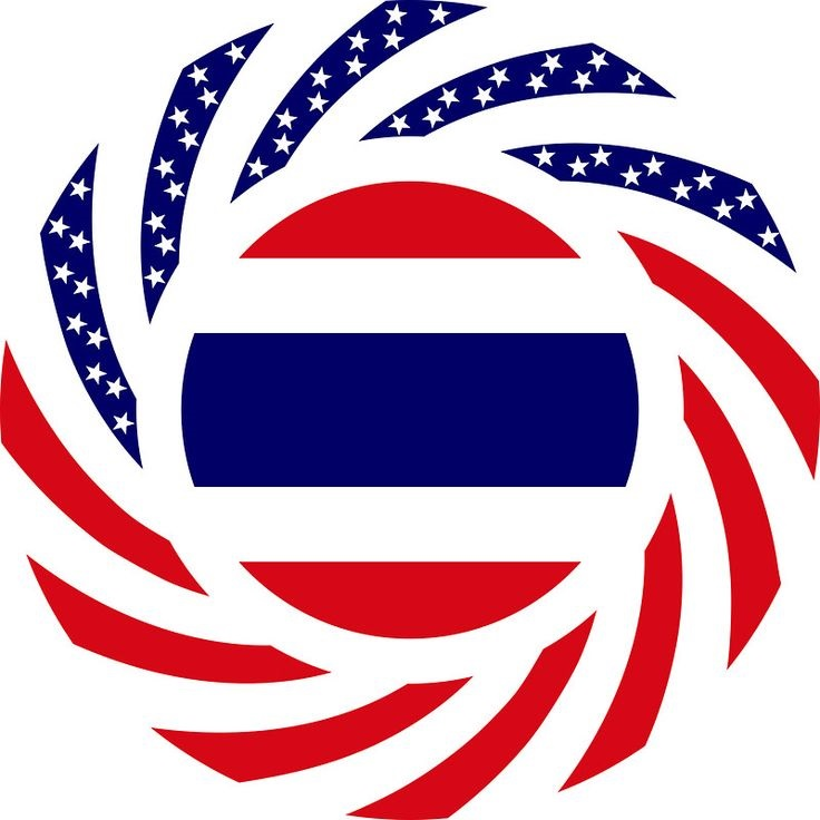Circular design combining Stars and Bars U.S. flag surrounding Thai national flag, used as the basis for the Republica Phuketia emblem.