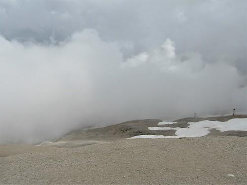 Schneeferner Glacier on Zugspitze and clouds
