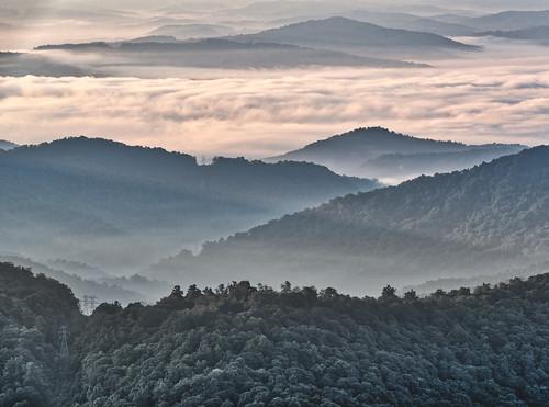 balsamgrove poundingmilloverlook blueridgeparkway northcarolina unitedstates usa nc canton transylvaniacounty sunrise forest mountains clouds mist morning valleys ridges peaks