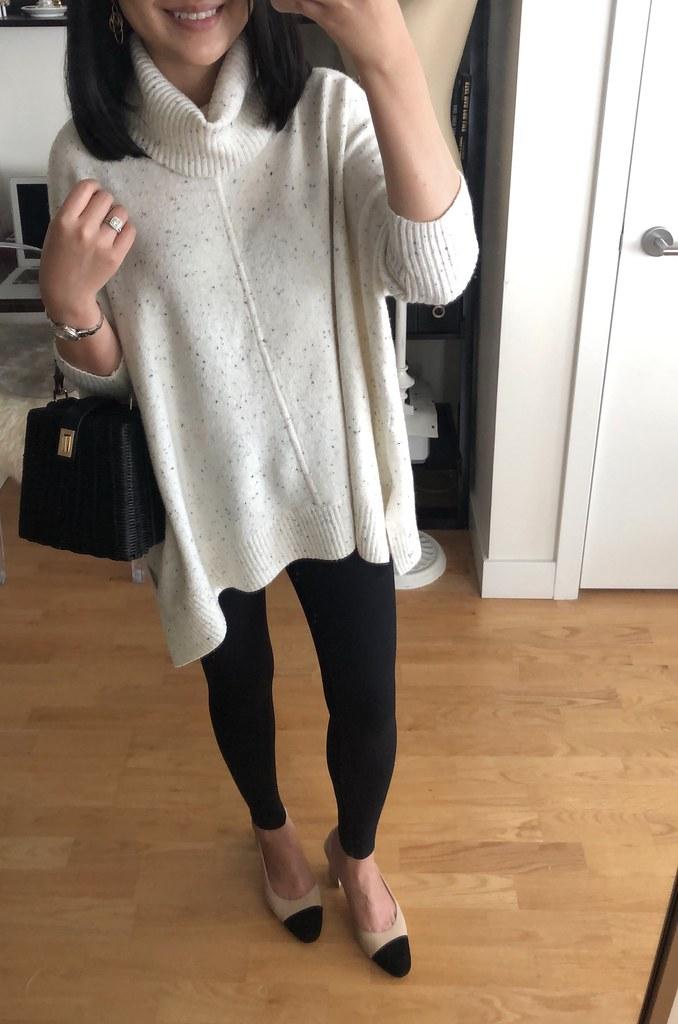 LOFT Turtleneck Poncho Sweater, size XXS regular