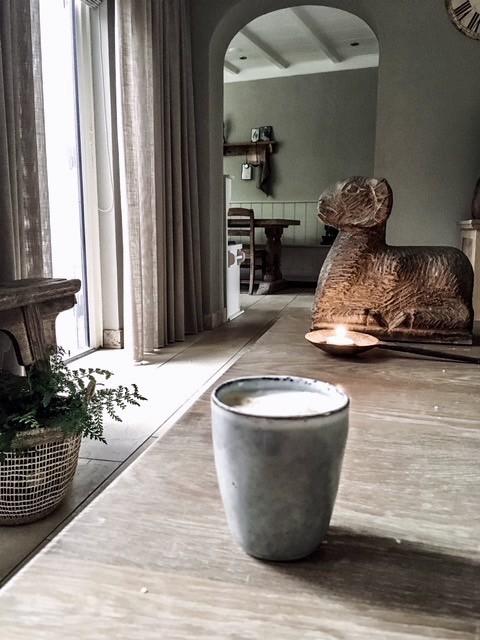 Stenen ram windlicht koffiemok
