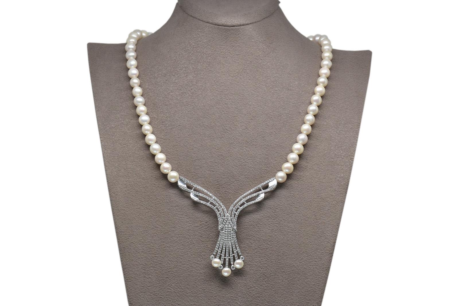 - Ahsen 925K Gümüş Klipsli Doğal Beyaz inci Kolye AH-00107