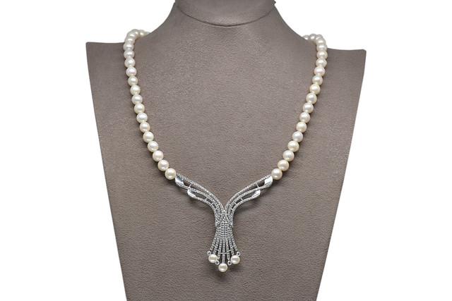 Ahsen 925K Gümüş Klipsli Doğal Beyaz inci Kolye AH-00107
