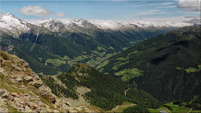 View from the Speikboden to the Zillertal Alps and the Ahrntal in South Tyrol