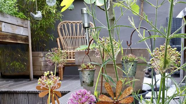 Rieten tuinstoel veranda landelijk