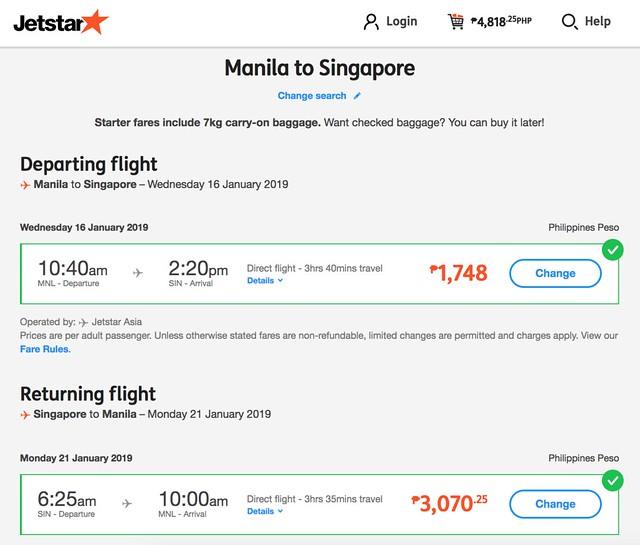 Jetstar Weekend Frenzy Fare Manila to Singapore Roundtrip