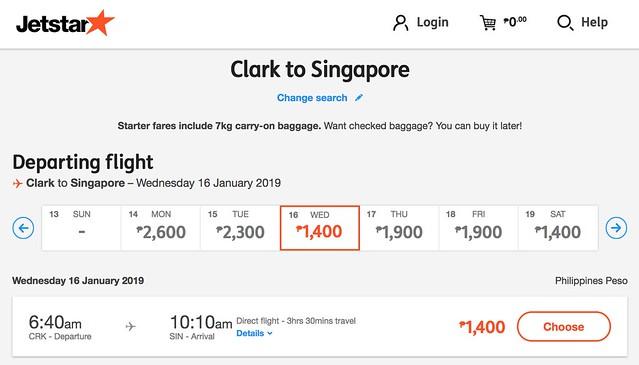 Jetstar Weekend Frenzy Fare Clark to Singapore Jan 2019