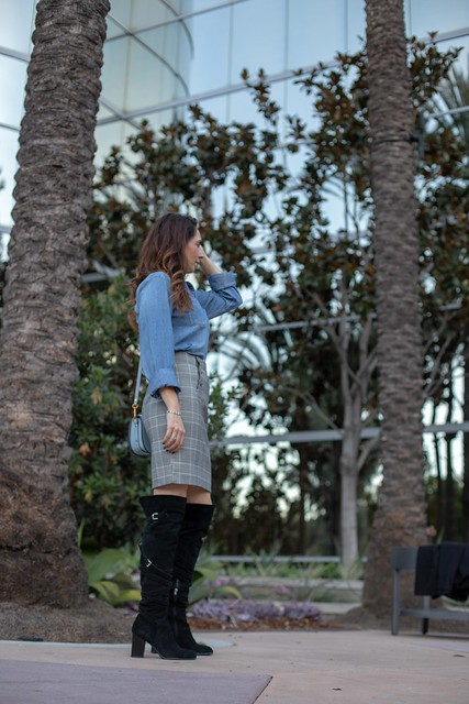 overthe knee boots and chambray button up