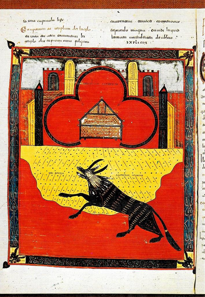 La bestia con cuernos de cordero subiendo a la tierra. Ap. XIII, 11-18 Santo Toribio de Liébana (Cantabria), San Beato de Liébana (siglo VIII),
