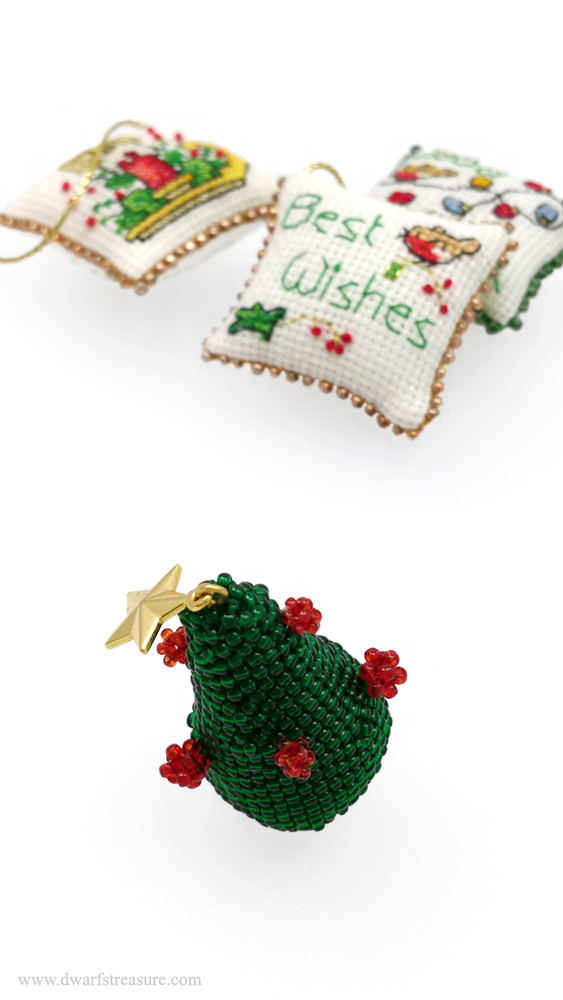 Unique beaded green tree holiday ornament