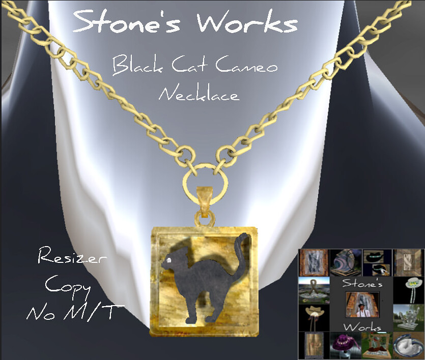 Black Cat Cameo Necklace in Gold