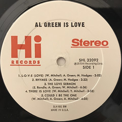 AL GREEN:AL GREEN IS LOVE(LABEL SIDE-A)