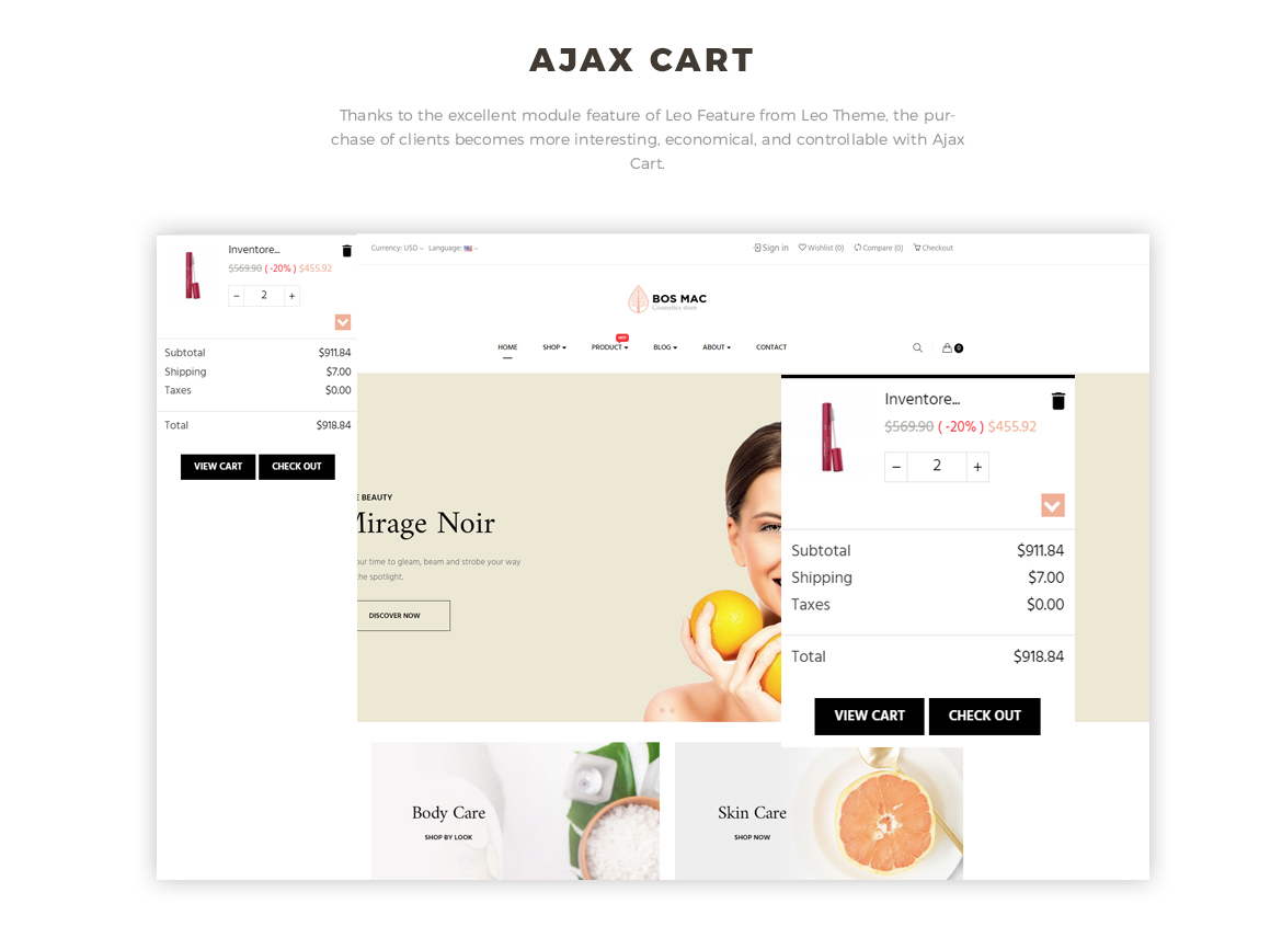 ajax add to cart - Bos Mac Prestashop 1.7 theme - Cosmetic and Beauty Store - free install support