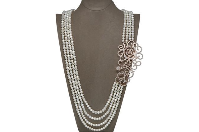 Ahsen 925K Gümüş Broşlu (Rose Renkli) 4 Sıralı Doğal Beyaz inci Kolye AH-00109