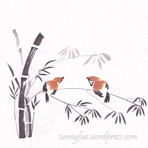 Inktober sparrows on bamboo, Day 21.