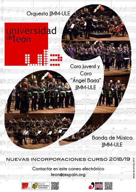 NUEVAS INCORPORACIONES A LAS FORMACIONES DE JUVENTUDES MUSICALES-UNIVERSIDAD DE LEÓN 2018/19
