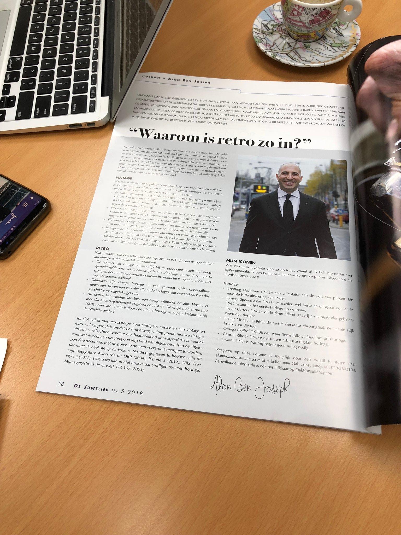 23rd column by Alon Ben Joseph Oak Consultancy for De Juwelier Magazine