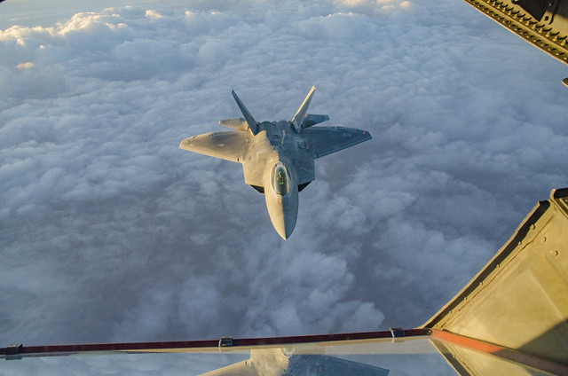 94th Expeditionary Fighter Squadron Lockheed Martin F-22 Raptors Demonstrate Combat Agility