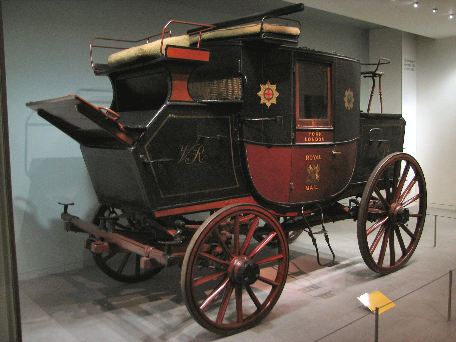 This Royal Mail coach was used between London and York circa the 1820s. It is one of the few genuine surviving mail coaches, preserved at the Science Museum in London. Photo taken on July 5, 2006.