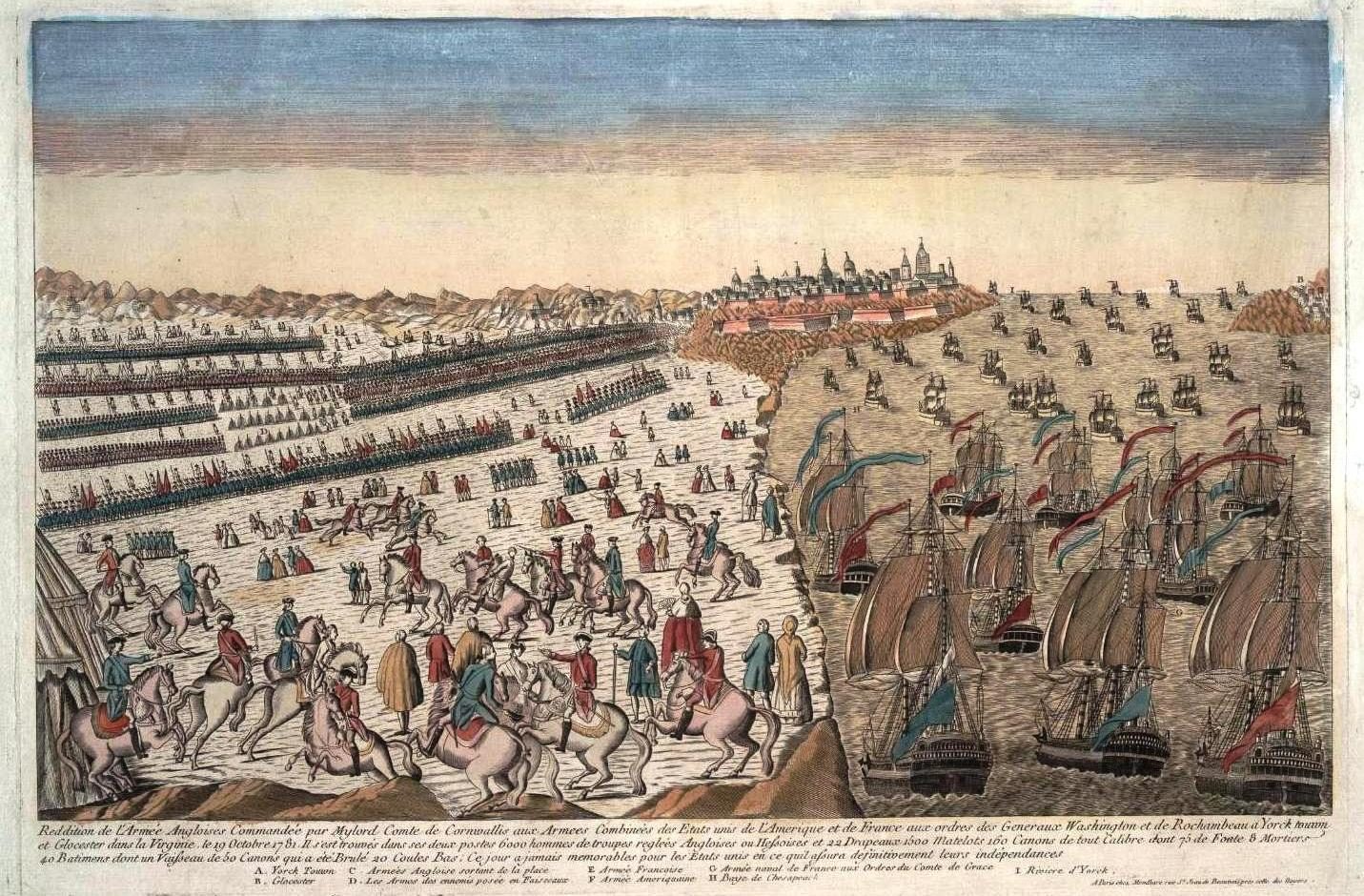 Overview of the capitulation of the British army at Yorktown, with the blockade of the French squadron. Artist unknown. Rough translation:
